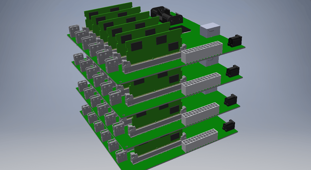 3D CAD rendering of the proposed compute cluster