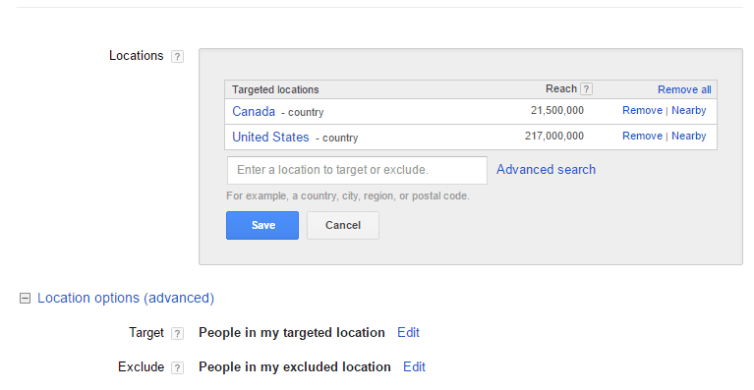 Setting the AdWords include and exclude locations