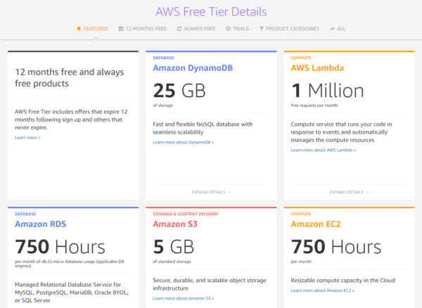 AWS Free Tier features