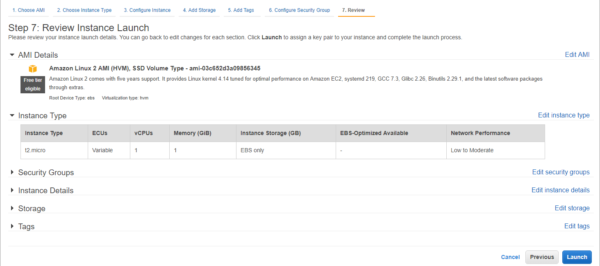 Preview the instance settings and launch the EC2