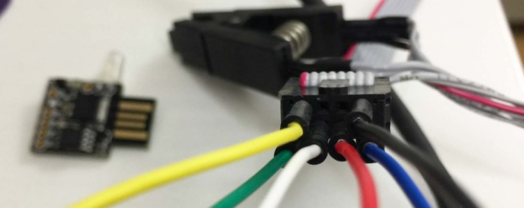 Closeup of breadboard wires in the SOIC8 test clip connector