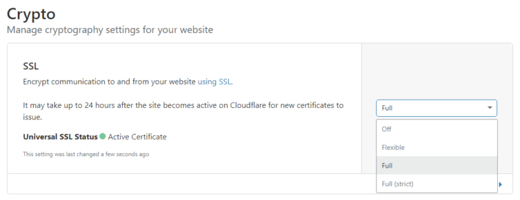 Cloudflare Universal SSL (TLS) certificate: select Full mode
