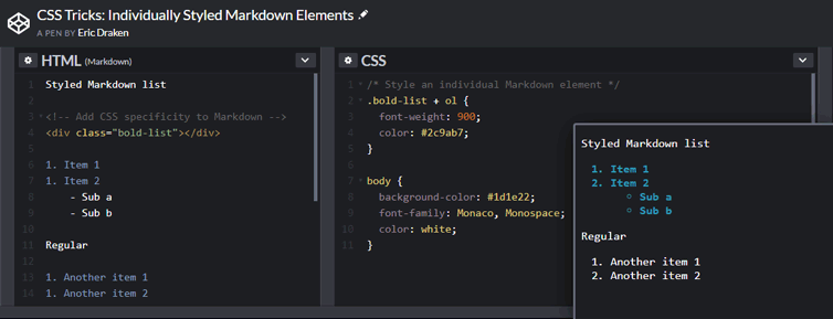 CSS Tricks: Individually styled Markdown elements