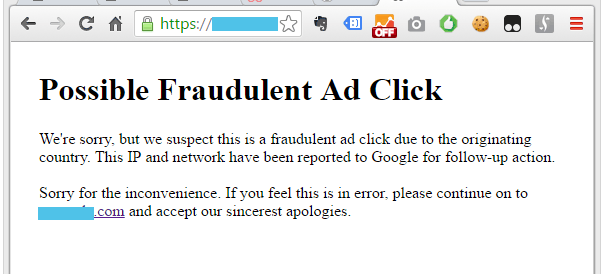 Warning message about the fraudulent ad click