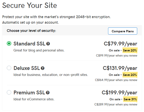 GoDaddy SSL certificate costs
