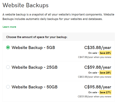 Shared hosting automatic backup pricing