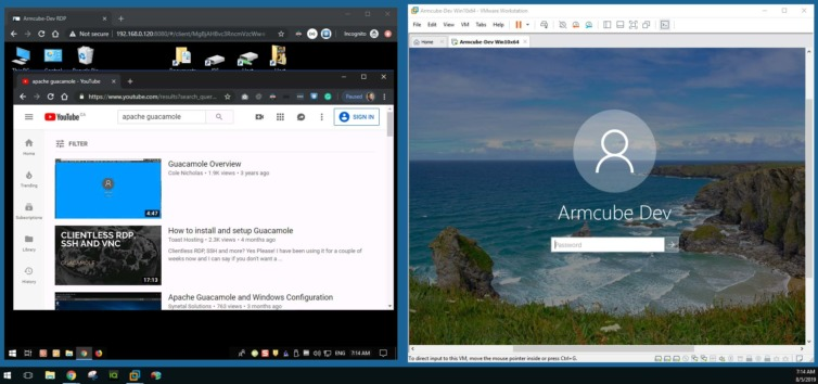 Successful connection to the remote desktop