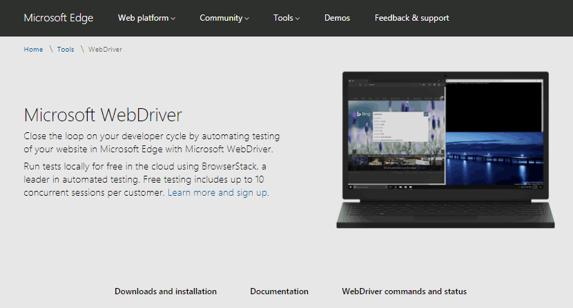 Microsoft Edge WebDriver download