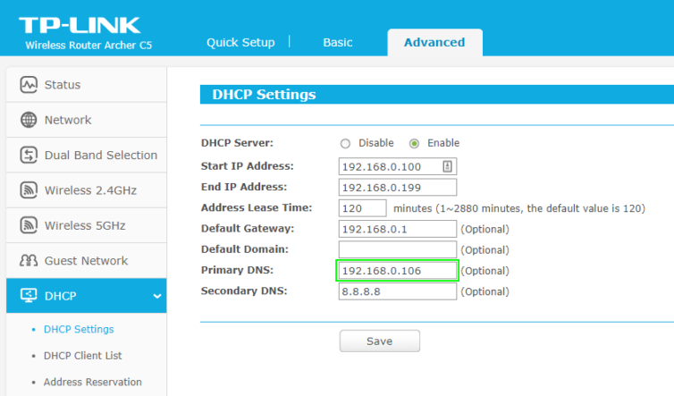 Set the DHCP primary DNS server IP in a TP-LINK router