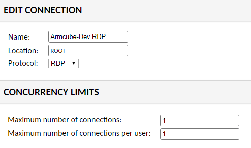 Set the connection name and RDP protocol